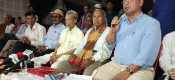 Agartala: Indigenous People's Front of Tripura (IPFT) President Narendra Chandra Debbarma during a press conference in Agartala on March 16, 2019. In a first major setback to the year-old BJP-led coalition government in Tripura, alliance partner IPFT on Saturday announced their own nominees for the state's two Lok Sabha seats. (Photo: IANS)