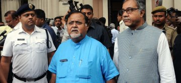 Kolkata: TMC leader Partha Chatterjee comes out after meeting the Deputy Election Commissioner of India, in Kolkata on March 16, 2019. (Photo: IANS)