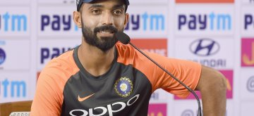 Bengaluru: India's Ajinkya Rahane addresses a press conference ahead of the maiden cricket test match against Afghanistan in Bengaluru on June 12, 2018. (Photo: IANS)