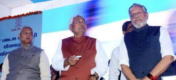 Patna: Bihar Chief Minister Nitish Kumar and Deputy Chief Minister Sushil Kumar Modi during a programme in Patna on Feb 26, 2019. (Photo: IANS)