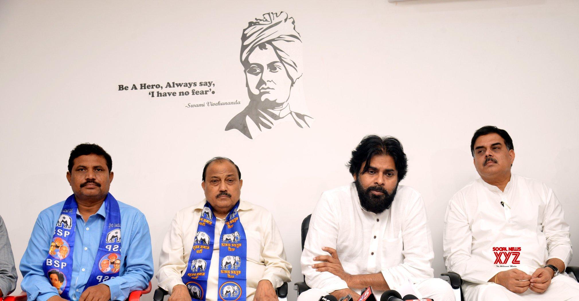 JanaSena Chief Sri Pawan Kalyan Press Meet With BSP Leaders Gallery