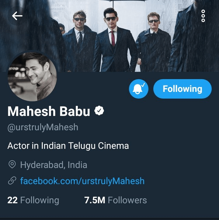Mahesh Babu Gets 7.5 Million Followers On Twitter