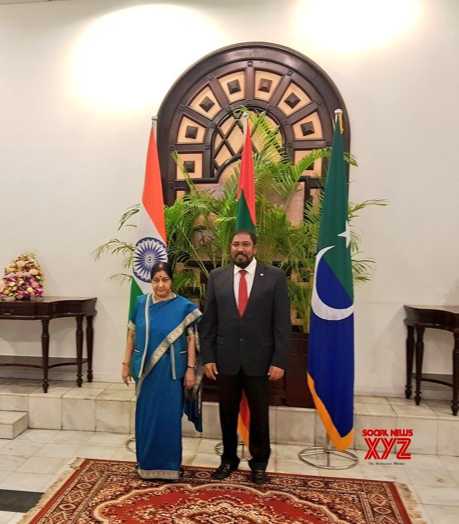 Male (Maldives): Sushma Swaraj meets Maldives Parliament Speaker #Gallery