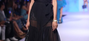Mumbai: A model showcases a collection of Horra Luxury on the third day of Bombay Times Fashion Week Spring/ Summer 2019 in Mumbai, on March 25, 2019. (Photo: IANS)