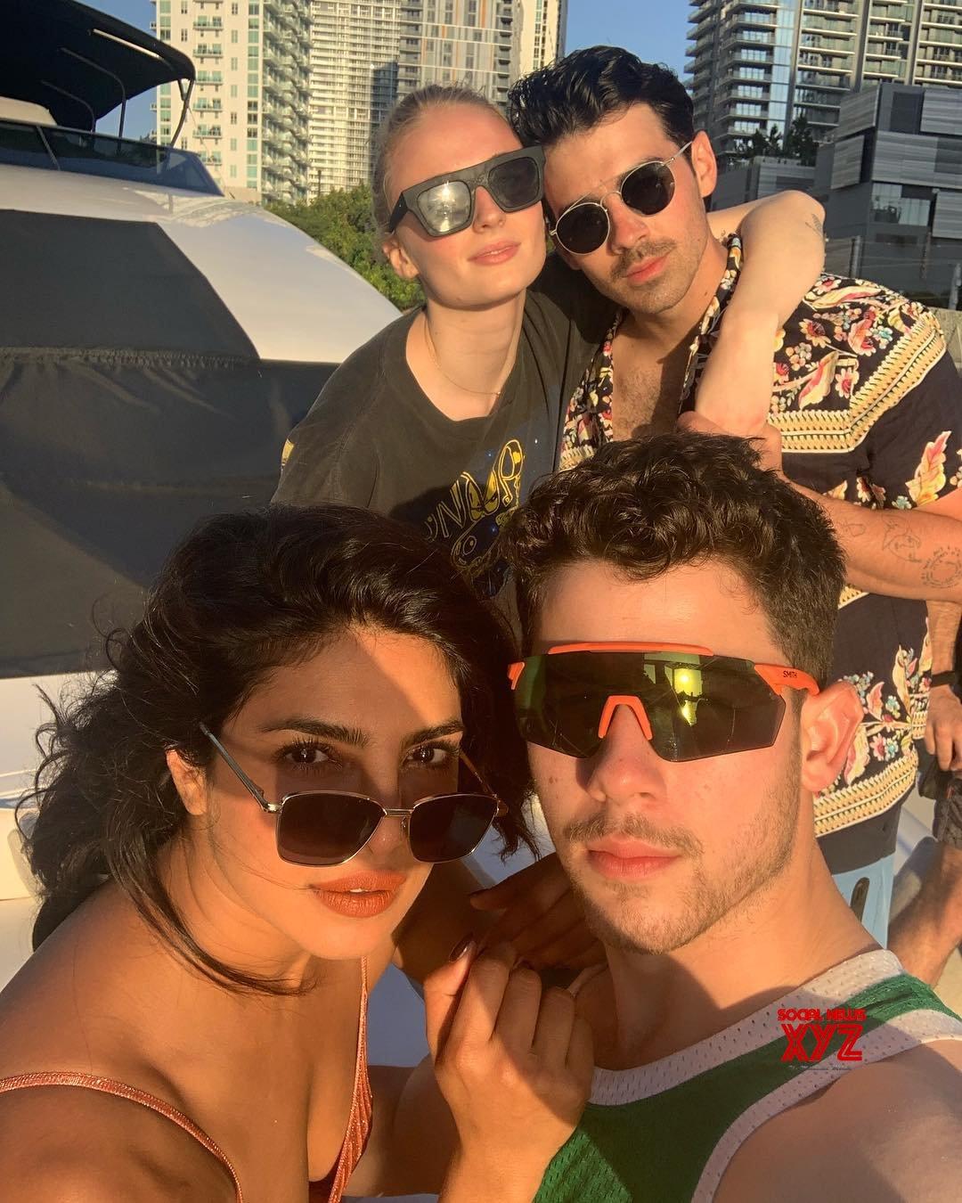 Nick Jonas, Priyanka Chopra, Joe Jonas, Sophie Turner, And Family Stills From A Yacht
