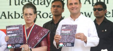 New Delhi: Congress leaders Sonia Gandhi, Rahul Gandhi and Manmohan Singh release the party's election manifesto for the 2019 Lok Sabha polls in New Delhi, on April 2, 2019. (Photo: IANS)
