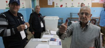 TRIPOLI, April 14, 2019 (Xinhua) -- A voter displays his inked finger at a polling station in Lebanon's northern city Tripoli, April 14, 2019. Lebanon held the by-election in Tripoli for a parliamentary seat that was left vacant following a successful appeal of last year's May elections on April 14, 2019. (Xinhua/Khalid/IANS)