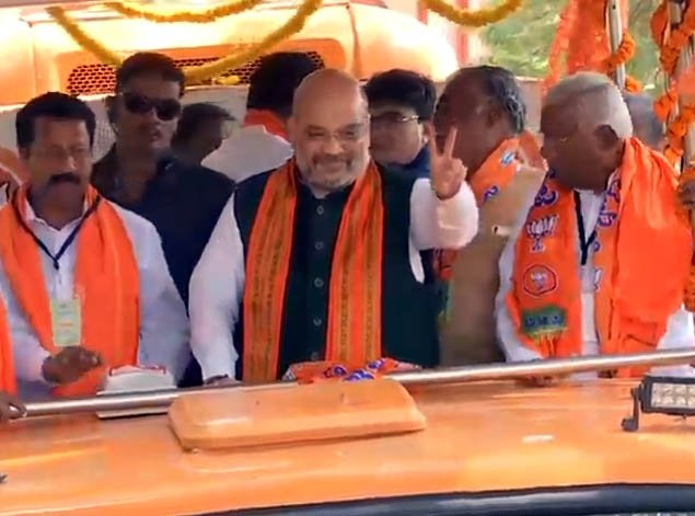 Tumakuru: 2019 Lok Sabha elections - Amit Shah during a roadshow in Karnataka #Gallery