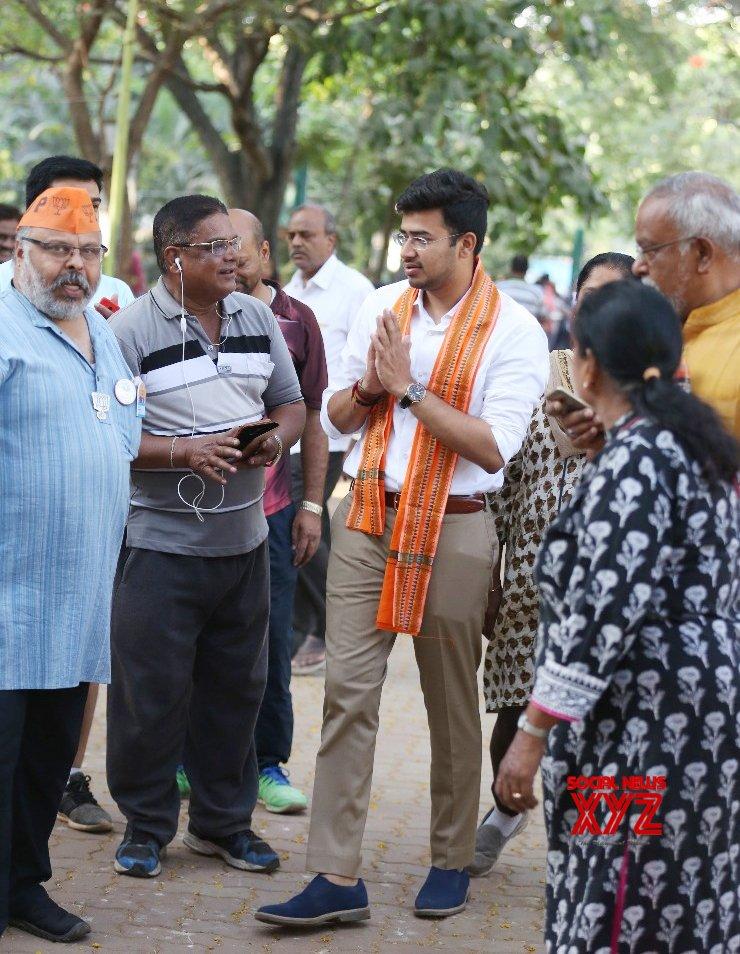 Bengaluru: 2019 Lok Sabha elections - BJP's Tejasvi Surya during poll campaign #Gallery