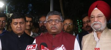 New Delhi: Union Minister Ravi Shankar Prasad talks to media after meeting Chief Election Commissioner in New Delhi, on April 16, 2019. (Photo: IANS)
