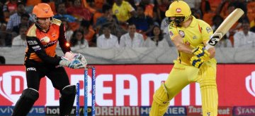 Hyderabad: Chennai Super Kings' Shane Watson gets bowled out during the 33rd match of IPL 2019 between Sunrisers Hyderabad and Chennai Super Kings at Rajiv Gandhi International Stadium in Hyderabad on April 17, 2019. (Photo: IANS)
