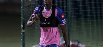 Jaipur: Rajasthan Royals' Jofra Archer during a practice session at Sawai Mansingh Cricket Stadium in Jaipur on March 24, 2019. (Photo: Surjeet Yadav/IANS)