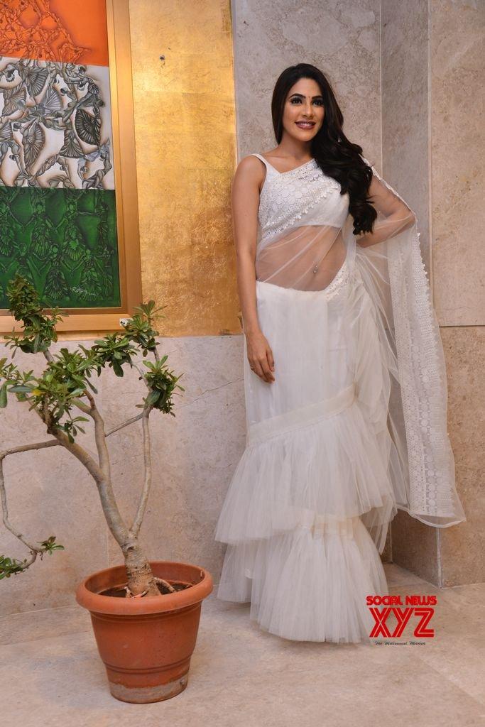 Actress Nikki Tamboli Hot Stills From Kanchana 3 Movie Pre Release Event