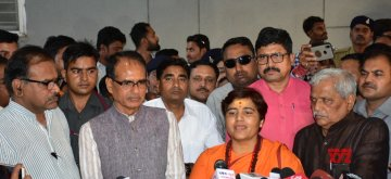 Bhopal: BJP leader Shivraj Singh Chouhan and Sadhvi Pragya Singh Thakur during a press conference in Bhopal on April 17, 2019. (Photo: IANS)