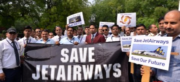 New Delhi: The employees of debt-ridden Jet Airways stage a demonstration to press for their various demands, at Jantar Mantar in New Delhi, on April 18, 2019. (Photo: IANS)