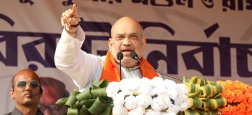 Birbhum: BJP chief Amit Shah addresses a public rally at Gonpur village in West Bengal's Birbhum district, on April 22, 2019. (Photo: Indrajit Roy/IANS)
