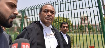 New Delhi: Former Attorney General and senior counsel Mukul Rohatgi after a hearing on Karnataka Governor Vajubhai Vala's decision to appoint K.G. Bopaiah, as the pro-tem Speaker; outside the Supreme Court, in New Delhi on May 19, 2018. (Photo: IANS)
