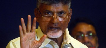 Mumbai: Andhra Pradesh Chief Minister and TDP supremo N. Chandrababu Naidu addresses a joint press conference by opposition parties, in Mumbai on April 23, 2019. (Photo: IANS)