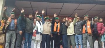 Sangla: Union Minister Nitin Gadkari campaigns for BJP's Lok Sabha candidate from Mandi, Ram Swaroop Sharma ahead of the 2019 Lok Sabha elections, at Sangla in Kinnau district of Himachal Pradesh, on May 1, 2019. (Photo: IANS)