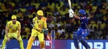 Chennai: Mumbai Indians' Ishan Kishan gets bowled out during the 1st Qualifier match of IPL 2019 between Chennai Super Kings and Mumbai Indians at MA Chidambaram Stadium in Chennai, on May 7, 2019. (Photo: IANS)