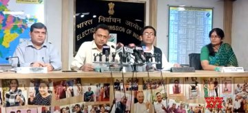 New Delhi: Election Commission officials address a press conference regarding violence witnessed during BJP President Amit Shah's roadshow in Kolkata on May 14; in New Delhi on May 15, 2019. (Photo: IANS/ECISVEEP)
