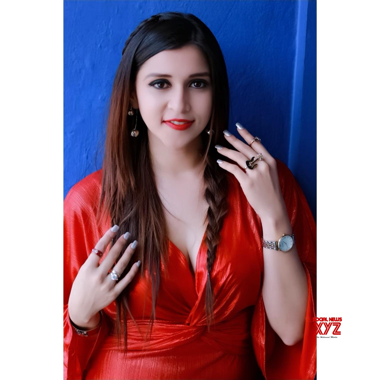 Actress Mannara Chopra Stills In Red Velvet Look During Her Shoot In Hyderabad