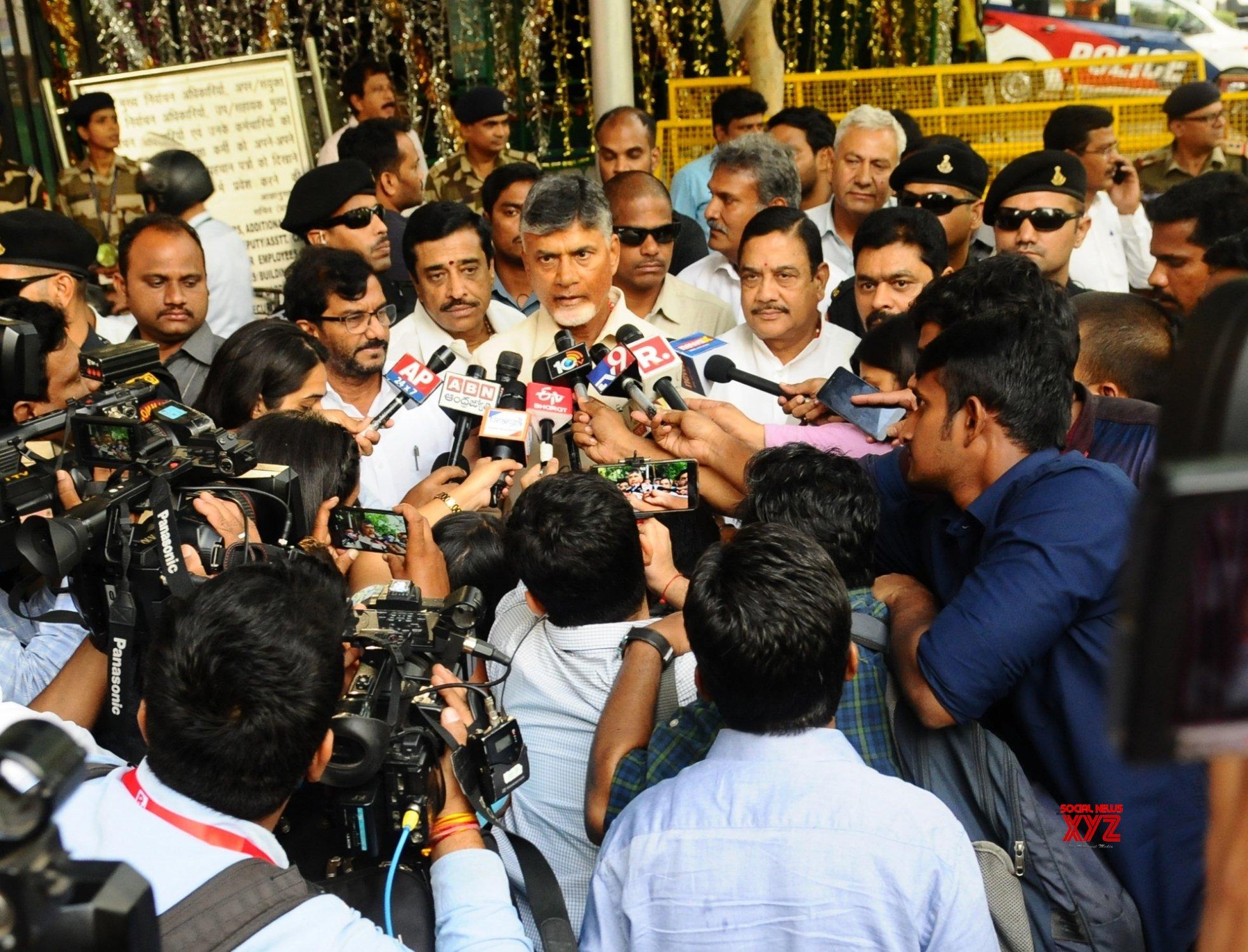 New Delhi: Chandrababu Naidu talks to the media after meeting CEC #Gallery