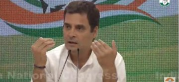 New�Delhi: Congress President�Rahul�Gandhi addresses a�press�conference�at the party's headquarter in�New�Delhi, on May 17, 2019. (Photo: Twitter/AICC)
