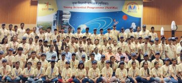 Sriharikota: Indian Space Research Organization (ISRO) Chairman Dr. K. Sivan with scientists and students during 'Yuvika-Samwad' session at Satish Dhawan Space Centre in Sriharikota, Andhra Pradesh on May 17, 2019. (Photo: IANS/PIB)