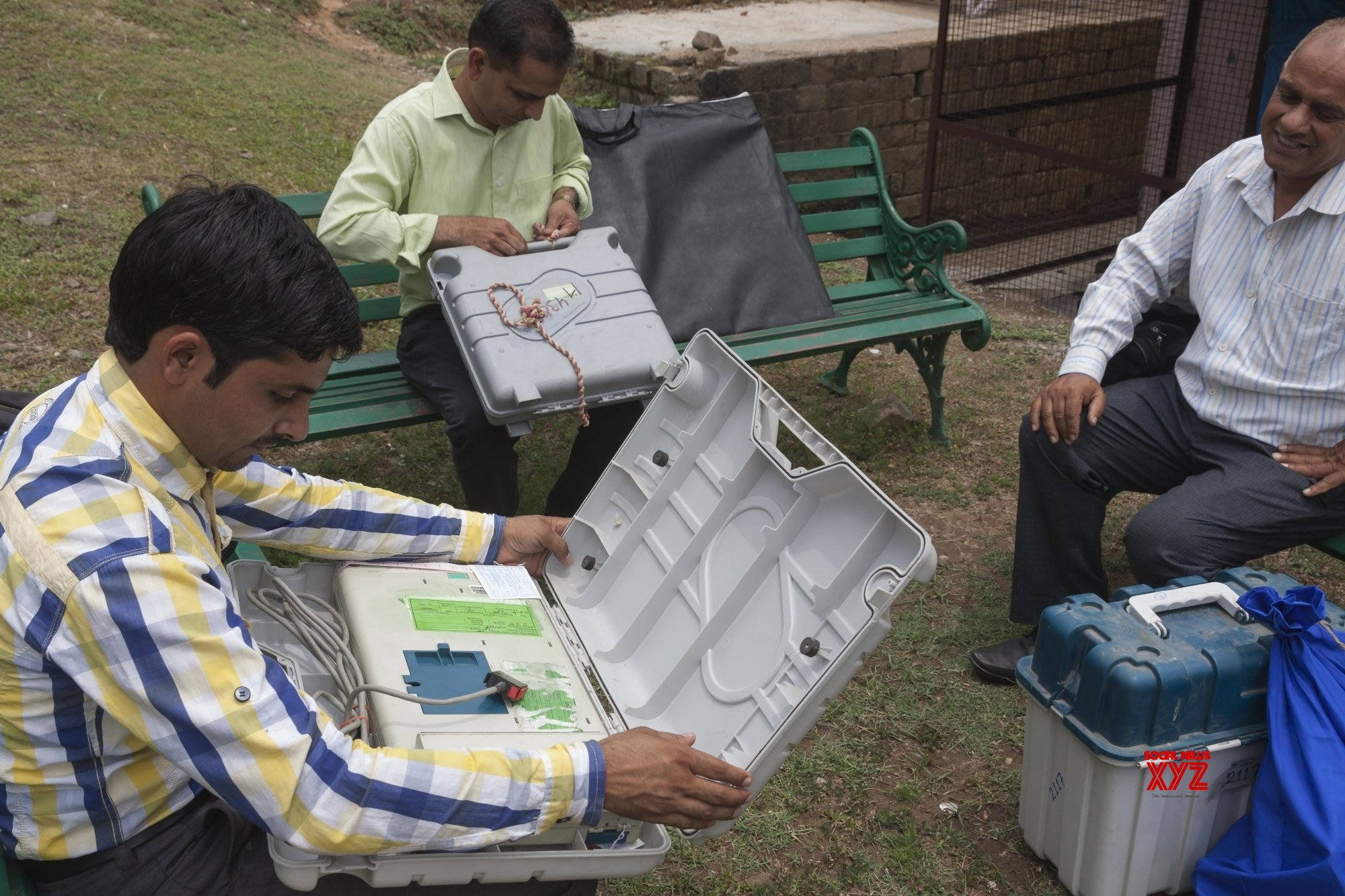 Dharamsala: Polling officials at a distribution center #Gallery