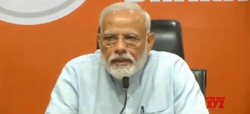 New Delhi: Prime Minister Narendra Modi addresses a press conference at the party's headquarter in New Delhi, on May 17, 2019. (Photo: IANS)