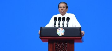 BEIJING, May 15, 2019 (Xinhua) -- Sri Lankan President Maithripala Sirisena delivers a speech at the opening ceremony of the Conference on Dialogue of Asian Civilizations (150519) at the China National Convention Center in Beijing, capital of China, May 15, 2019. (Xinhua/Ju Huanzong/IANS)