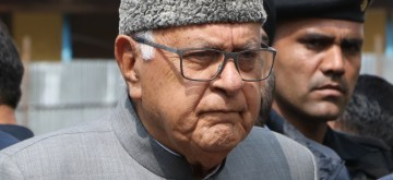 Srinagar: National Conference President Farooq Abdullah, who appeared set to win the 2019 Lok Sabha election from Srinagar, comes out of an election counting center during the counting of votes cast in the recently concluded Lok Sabha elections, in Srinagar on May 23, 2019. (Photo: IANS)
