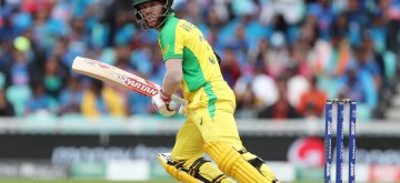 London: Australia's David Warner in action during the 14th match of 2019 World Cup between India and Australia at Kennington Oval in London on June 9, 2019. (Photo: Surjeet Yadav/IANS)