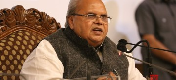 Srinagar: Jammu and Kashmir Governor Satya Pal Malik addresses a press conference at Sher-i-Kashmir International Conference Centre (SKICC) in Srinagar, on June 12, 2019. (Photo: IANS)