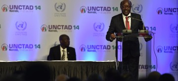 (160723)-- NAIROBI, July 23, 2016(Xinhua) -- Mukhisa Kituyi, Secretary-General of the UN Conference on Trade and development (UNCTAD), speaks during the closing ceremony of the 14th session of UNCTAD in Nairobi, Kenya, July 22, 2016. Kenyan President Uhuru Kenyatta has lauded an agreement which was sealed in Nairobi during the week-long UN trade conference. (Xinhua/Sun Ruibo)(zy)