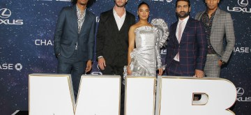 "- New York, NY - 6/11/19 - The World Premiere of Columbia Pictures ""Men In Black: International""-Pictured: Larry Bourgeois, Chris Hemsworth, Tessa Thompson, Kumail Nanjiani, Laurent Bourgeois-Photo by: Dave Allocca/Starpix-Location: AMC Lincoln Square"