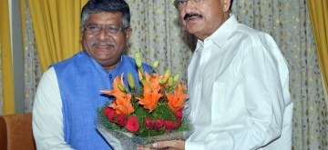 New Delhi: Union Law and Justice, Communications and Electronics and Information Technology Minister Ravi Shankar Prasad meets Vice President M. Venkaiah Naidu, in New Delhi on June 13, 2019. (Photo: IANS/PIB)