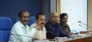 New Delhi: Indian Space Research Organisation (ISRO) Chairman K. Sivan accompanied by Union Minister of State for Atomic Energy and Space Jitendra Singh, addresses a press conference ahead of the launch of ISRO's second moon mission Chandrayaan-2, in New Delhi on June 13, 2019. (Photo: IANS)