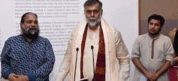 "New Delhi: Union MoS Culture and Tourism Prahalad Singh Patel addresses at the inauguration of the exhibition titled ""Astitva: The Essence of Prabhakar Barwe"", in New Delhi on June 13, 2019. (Photo: IANS/PIB)"