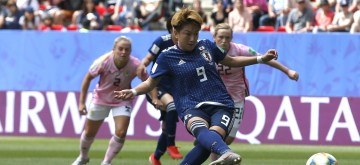 RENNES, June 14, 2019 (Xinhua) -- Yuika Sugasawa (Front) of Japan kicks the penalty during the group D match between Japan and Scotland at the 2019 FIFA Women's World Cup in Rennes, France, June 14, 2019. (Xinhua/Ding Xu/IANS)