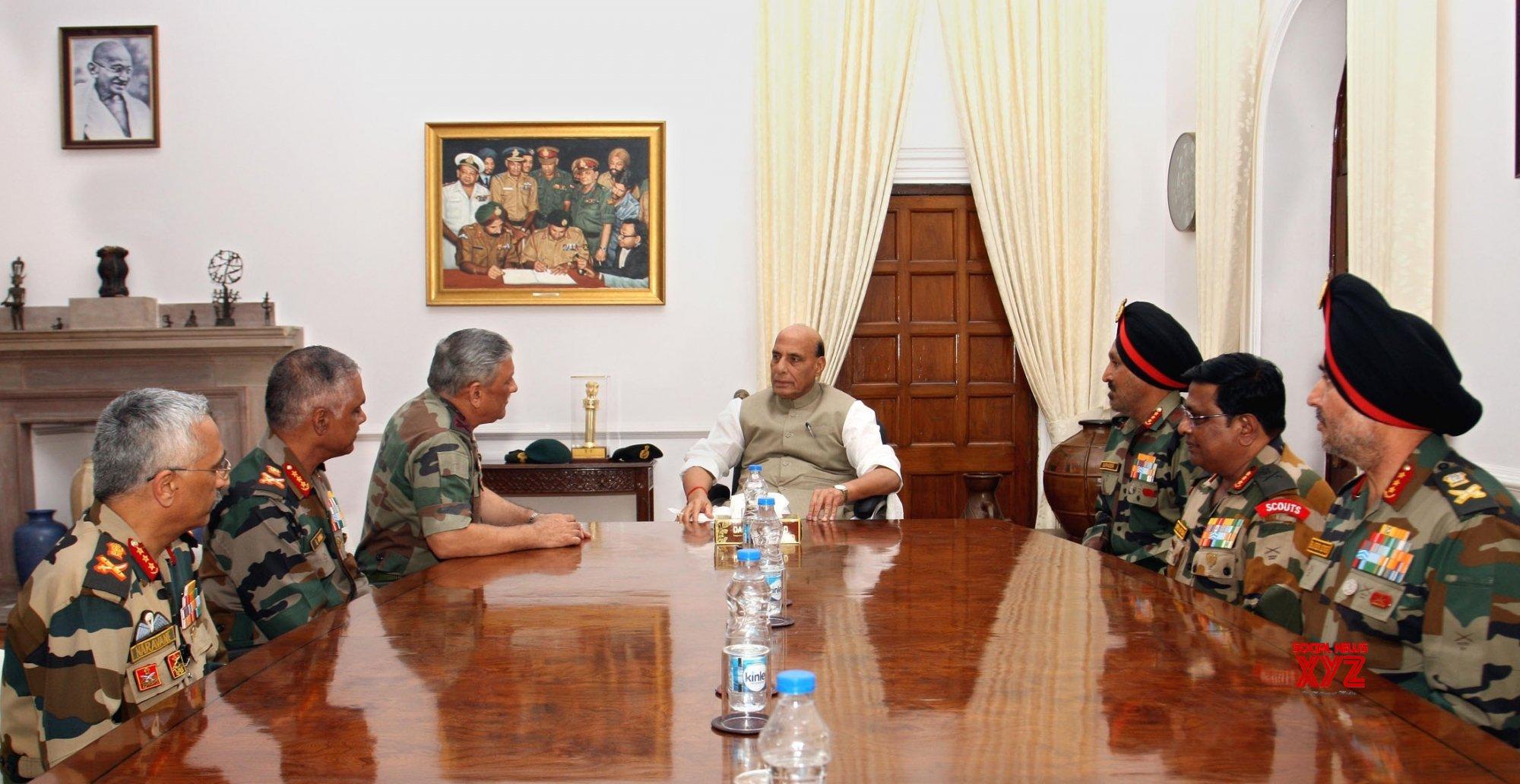 New Delhi: Rajnath Singh meets army officials #Gallery