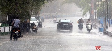 Bhopal: Rains lash Bhopal on June 14, 2019. (Photo: IANS)
