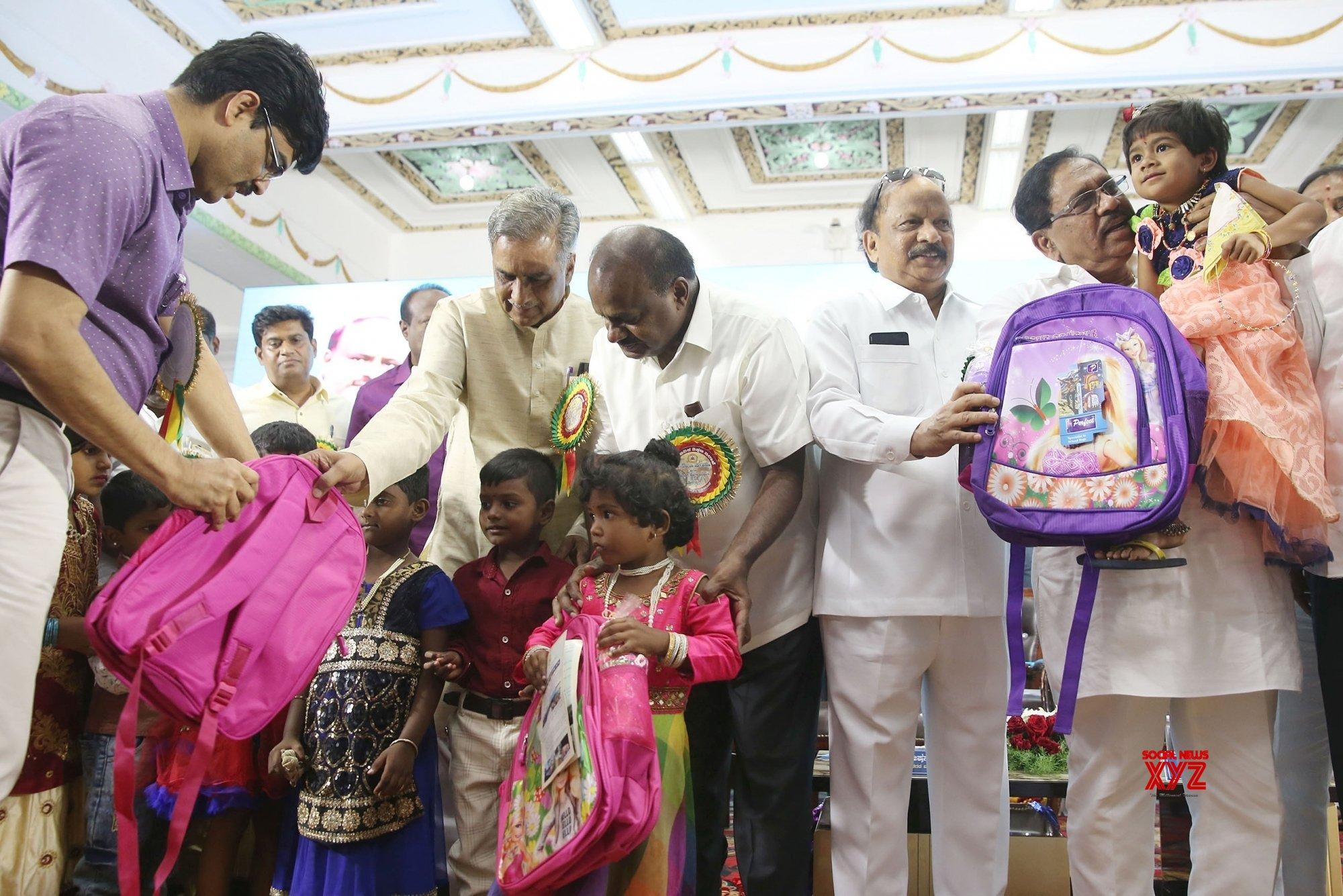 Bengaluru: Kumaraswamy distributes school bags at the inauguration of Karnataka Public School #Gallery