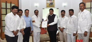 Mumbai: Telangana Chief Minister K Chandrasekhar Rao meets Maharashtra Chief Minister Devendra Fadnavis in Mumbai on June 14, 2019. (Photo: IANS)
