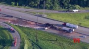 Crash spills cocoa on highway near Chicago  (Video)