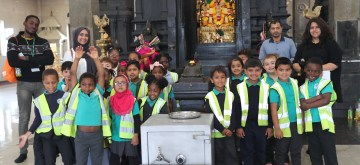 London: Portway Primary School children visit London Murugan Temple to know about Indian temples and Hindu culture in London on June 18, 2019. (Photo: IANS)