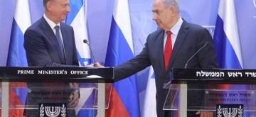 JERUSALEM, June 24, 2019 (Xinhua) -- Israeli Prime Minister Benjamin Netanyahu (R) and Russian National Security Council Secretary Nikolai Patrushev attend a press conference at the Prime Minister's Office in Jerusalem, on June 24, 2019. Benjamin Netanyahu on Monday said that he expects Russian President Vladimir Putin to arrive in Israel later in 2019, a sign to strengthen ties between the two countries. (Xinhua/JINI/Marc Israel Sellem/IANS)