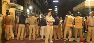 Kolkata: A large contingent of police deployed in front CBI office, CGO complex in Kolkata on Feb 3, 2019. This comes after a group of CBI officers approached the official residence of Kolkata police commissioner Rajeev Kumar's on Loudon Street. (Photo: IANS)