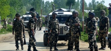 Security beefed-up after grenade explosion at Pattan in Jammu and Kashmir on May 7, 2014. (Photo: IANS)